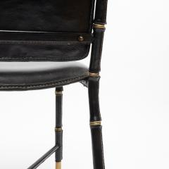 Jacques Adnet French Midcentury Set of 6 chairs In Black Stitched Leather by Jacques Adnet - 1252169