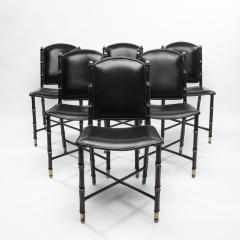 Jacques Adnet French Midcentury Set of 6 chairs In Black Stitched Leather by Jacques Adnet - 1252170