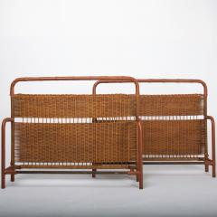 Jacques Adnet French Midcentury Steel Leather and Rattan Daybed Jacques Adnet - 1049117