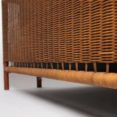 Jacques Adnet French Midcentury Steel Leather faux bamboo and Rattan Daybed Jacques Adnet - 1122419