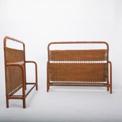 Jacques Adnet French Midcentury Steel Leather faux bamboo and Rattan Daybed Jacques Adnet - 1122423