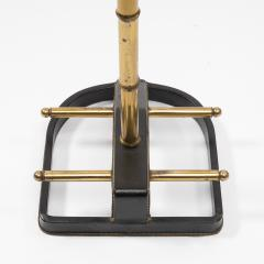 Jacques Adnet French Midcentury Valet Muet Jacques Adnet Steel Black Leather Brass - 1228691