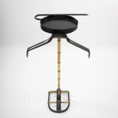 Jacques Adnet French Midcentury Valet Muet Jacques Adnet Steel Black Leather Brass - 1228692