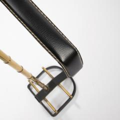 Jacques Adnet French Midcentury Valet Muet Jacques Adnet Steel Black Leather Brass - 1228695
