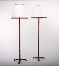 Jacques Adnet French Midcentury pair of floor lamps Jacques Adnet saddle stitched leather - 984222