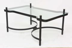 Jacques Adnet French Modern Iron Brass and Glass Low Table Jacques Adnet - 61218