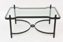 Jacques Adnet French Modern Iron Brass and Glass Low Table Jacques Adnet - 61222