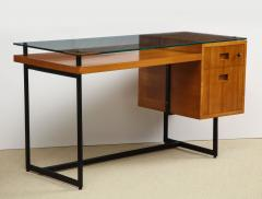 Jacques Adnet Fruitwood desk with glass top - 1104249