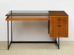 Jacques Adnet Fruitwood desk with glass top - 1104252