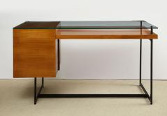 Jacques Adnet Fruitwood desk with glass top - 1104255