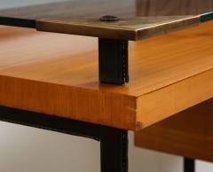 Jacques Adnet Fruitwood desk with glass top - 1104258