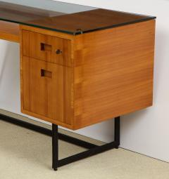 Jacques Adnet Fruitwood desk with glass top - 1104259