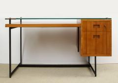 Jacques Adnet Fruitwood desk with iron legs wrapped in leather and glass top by Adnet - 1498453