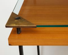 Jacques Adnet Fruitwood desk with iron legs wrapped in leather and glass top by Adnet - 1498456