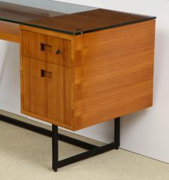 Jacques Adnet Fruitwood desk with iron legs wrapped in leather and glass top by Adnet - 1498462