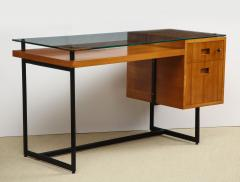 Jacques Adnet Fruitwood desk with iron legs wrapped in leather and glass top by Adnet - 1498463
