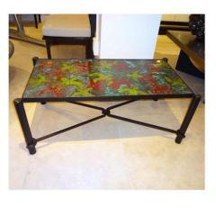 Jacques Adnet Jacques Adnet Large Cocktail Table in Blackened Steel and Hand Thrown Tile - 251755