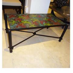 Jacques Adnet Jacques Adnet Large Cocktail Table in Blackened Steel and Hand Thrown Tile - 251757