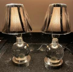 Jacques Adnet Jacques Adnet and Baccarat Crystal Ball Pair of Art Deco Table lamps - 1807072