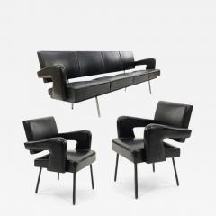 Jacques Adnet Jacques Adnet rarest set of comfy big couch and 2 chairs - 1620542