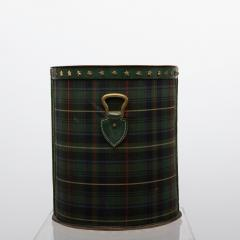 Jacques Adnet Large Wastepaper Basket by Jacques Adnet Steel Tartan Fabric and Leather - 1049141
