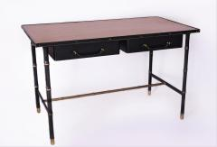 Jacques Adnet Leather stitched wrapped Desk with Oak Veneer Top - 894048