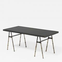 Jacques Adnet Mid Century Modern stitched leather and brass coffee table by Jacques Adnet - 2021016