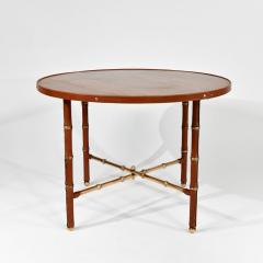 Jacques Adnet Occasional table in stitched leather - 1026291