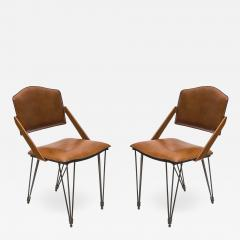Jacques Adnet Pair Of Stitched Leather Armchairs By Jacques Adnet - 1310360