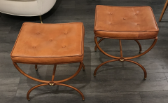 Jacques Adnet Pair of 1950s Stitched Leather Stools by Jacques Adnet - 1819190