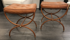 Jacques Adnet Pair of 1950s Stitched Leather Stools by Jacques Adnet - 1819191