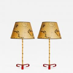 Jacques Adnet Pair of Bambou Stitched Leather lamps BY Jacques Adnet - 854390
