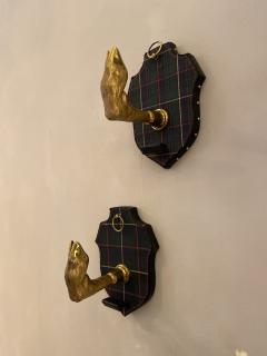 Jacques Adnet Pair of Coat Hooks by Jacques Adnet France 1950s - 1180306