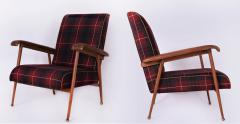 Jacques Adnet Pair of Fabric and Leather Armchairs - 894041