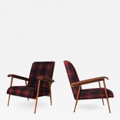 Jacques Adnet Pair of Fabric and Leather Armchairs - 895432