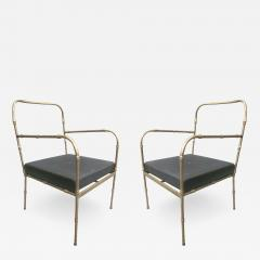 Jacques Adnet Pair of French Mid Century Modern Faux Bamboo Armchairs Style Jacques Adnet - 1791359