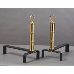 Jacques Adnet Pair of Jacques Adnet Brass Andirons France 1950s - 1898299