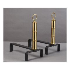 Jacques Adnet Pair of Jacques Adnet Brass Andirons France 1950s - 1898301