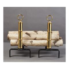 Jacques Adnet Pair of Jacques Adnet Brass Andirons France 1950s - 1898304