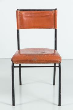 jacques adnet pair of jacques adnet leather and metal dining chairs