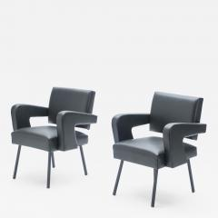 Jacques Adnet Pair of Jacques Adnet President leatherette armchairs 1959 - 1331737