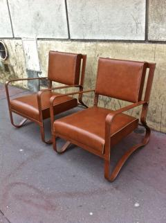 Jacques Adnet Pair of Rare Lounge Chairs in Hand Stitched Leather - 367278
