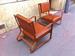 Jacques Adnet Pair of Rare Lounge Chairs in Hand Stitched Leather - 367280