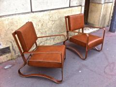 Jacques Adnet Pair of Rare Lounge Chairs in Hand Stitched Leather - 367281