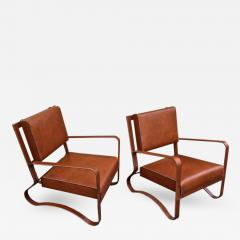 Jacques Adnet Pair of Rare Lounge Chairs in Hand Stitched Leather - 367781