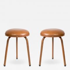 Jacques Adnet Pair of Stitched Leather Stools By Jacques Adnet - 1678988