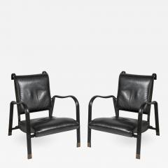 Jacques Adnet Pair of Stitched leather armchairs by Jacques adnet - 892341