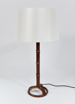 Jacques Adnet Pair of chic stitched leather table lamps - 1789725