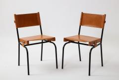 Jacques Adnet Pair of light cognac leather dining chairs by Jacques Adnet - 1458756