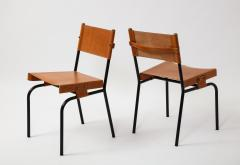 Jacques Adnet Pair of light cognac leather dining chairs by Jacques Adnet - 1458757